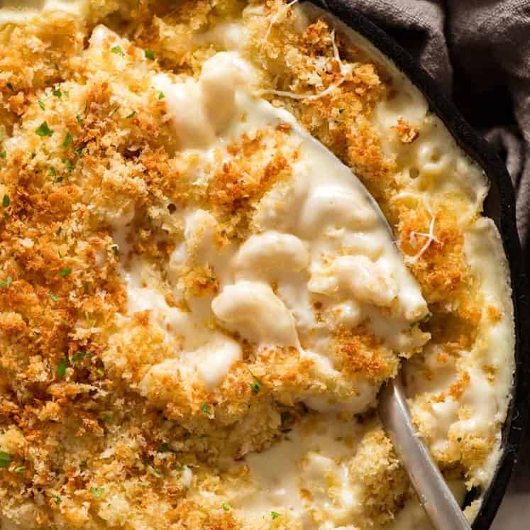 Baked Mac and Cheese in a black skillet fresh out of the oven