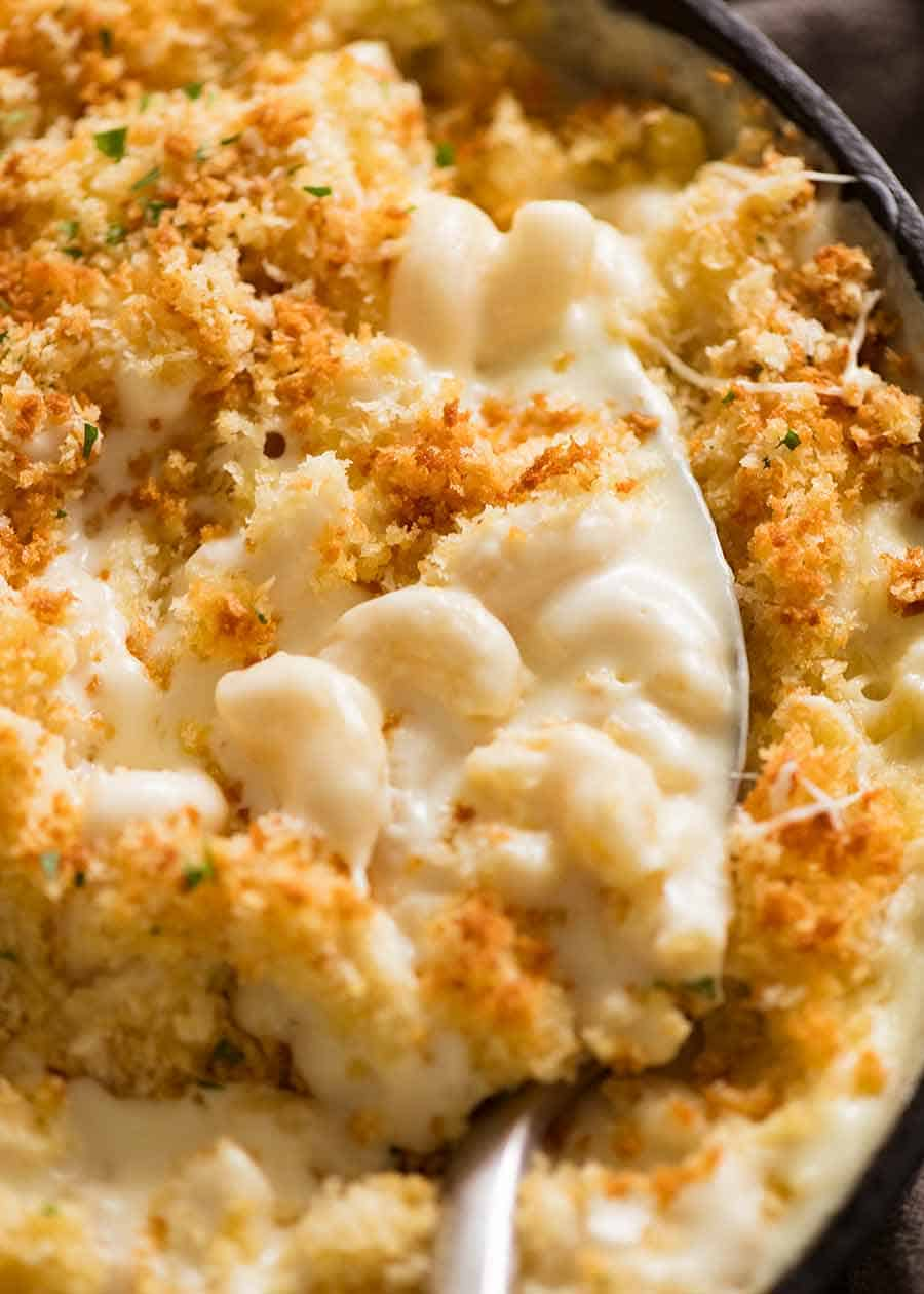 Close up of Baked Mac and Cheese fresh out of the oven