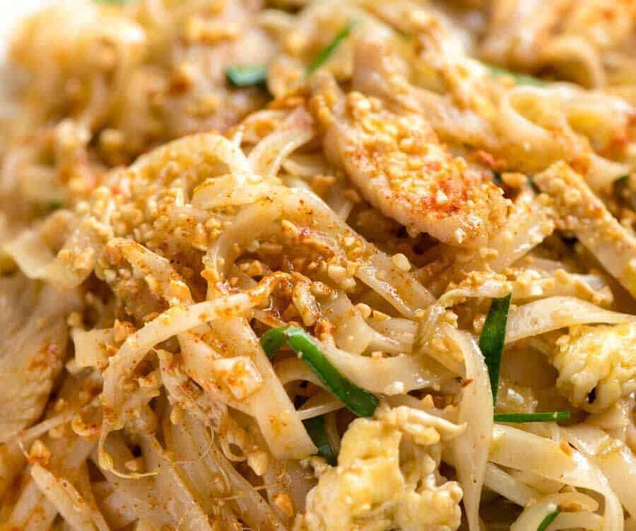 Close up of Chicken Pad Thai.