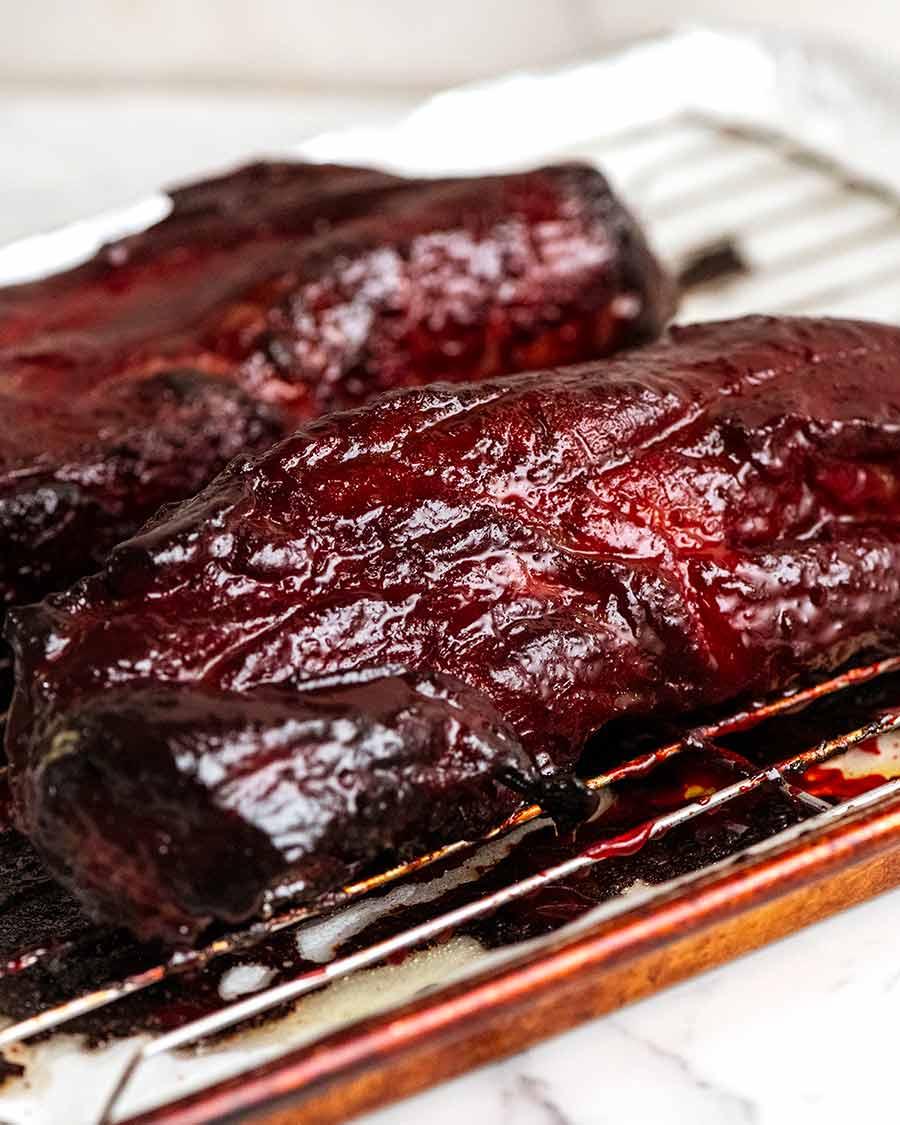Char Siu Pork - Carne de porco grelhada chinesa acabada de sair do forno