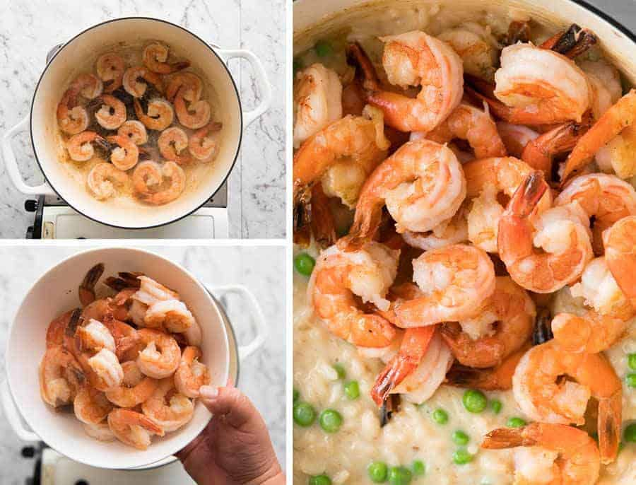 Preparation steps for how to make Prawn Risotto (shrimp risotto)