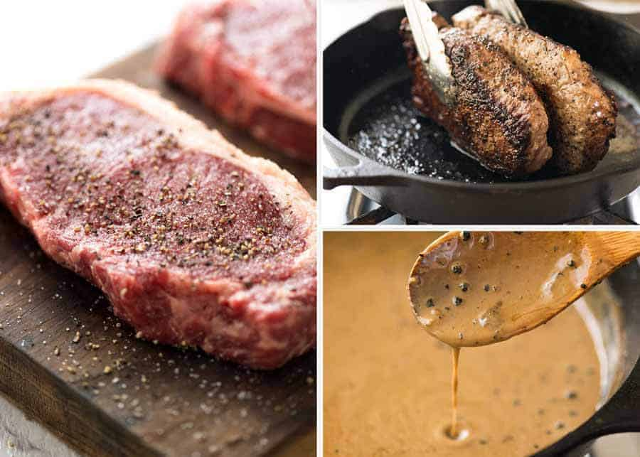 Preparation of Steak with Creamy Peppercorn Sauce