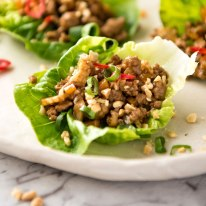 San Choy Bow - Chinese Lettuce Wraps on a plate ready to be eaten