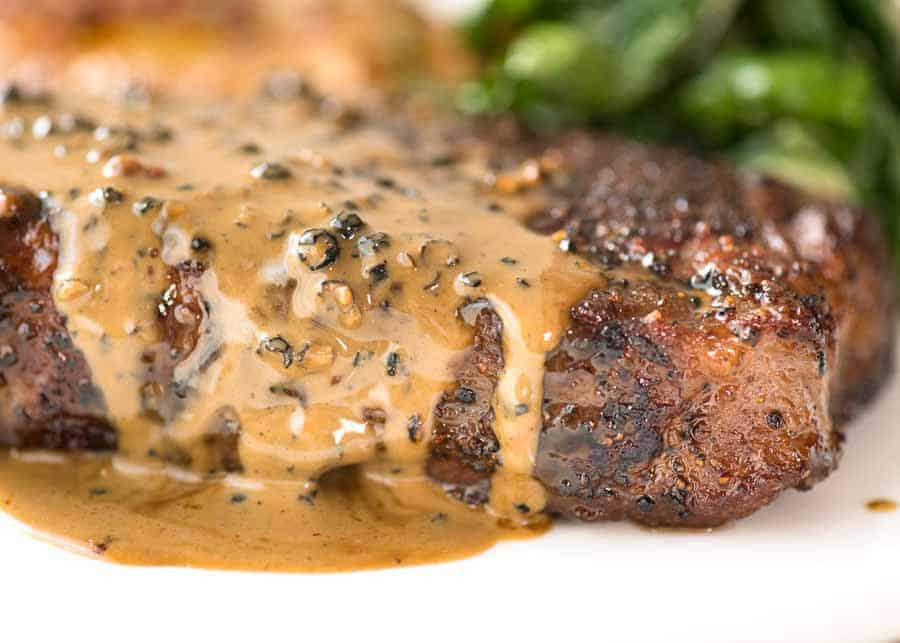 Steak With Creamy Peppercorn Sauce Recipetin Eats