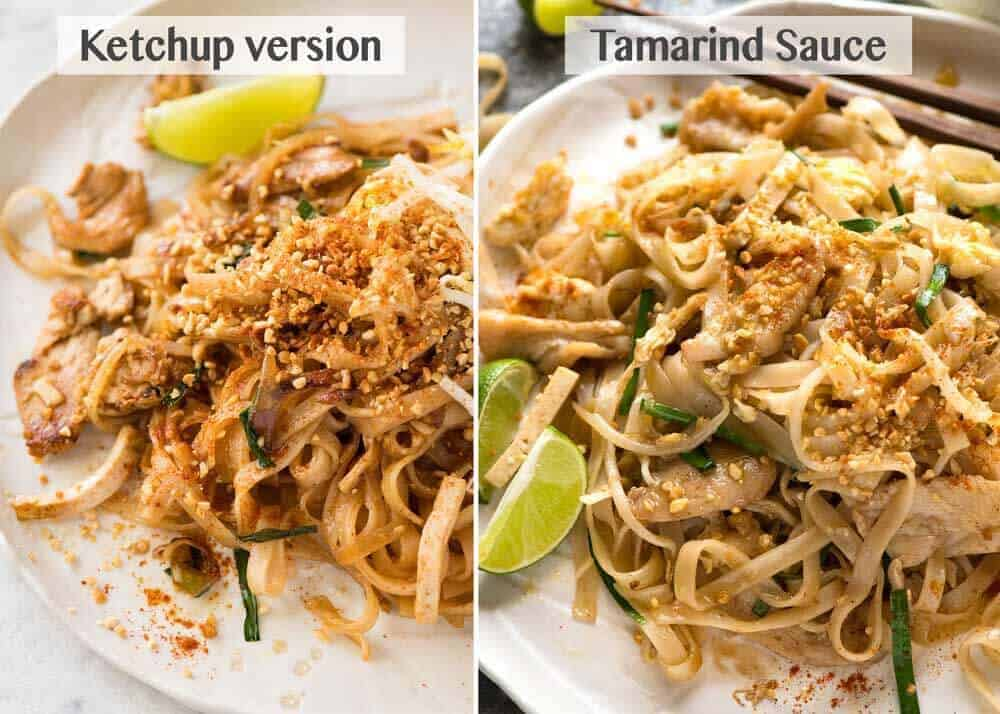 A comparison of Pad Thai made using a Tamarind sauce and a ketchup sauce.