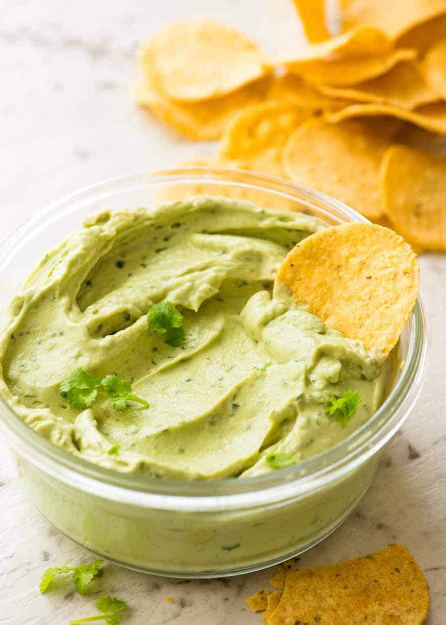 Avocado Sauce with corn chips, ready for snack time!