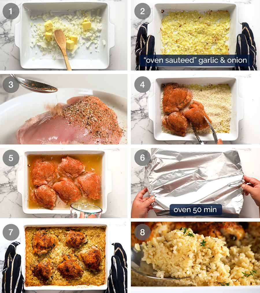 How to make chicken and rice in the oven
