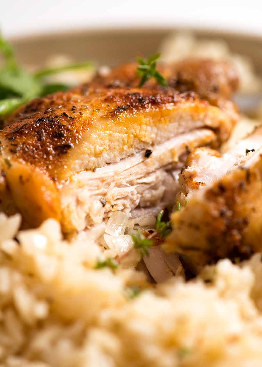 Close up showing the inside of oven baked chicken thighs