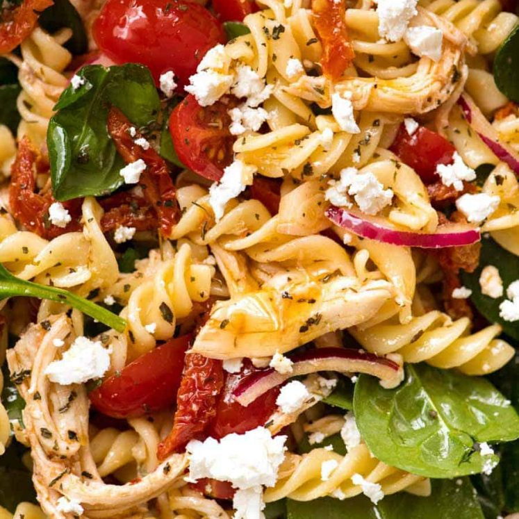 Close up of Pasta Salad with Chicken and Sun Dried Tomato