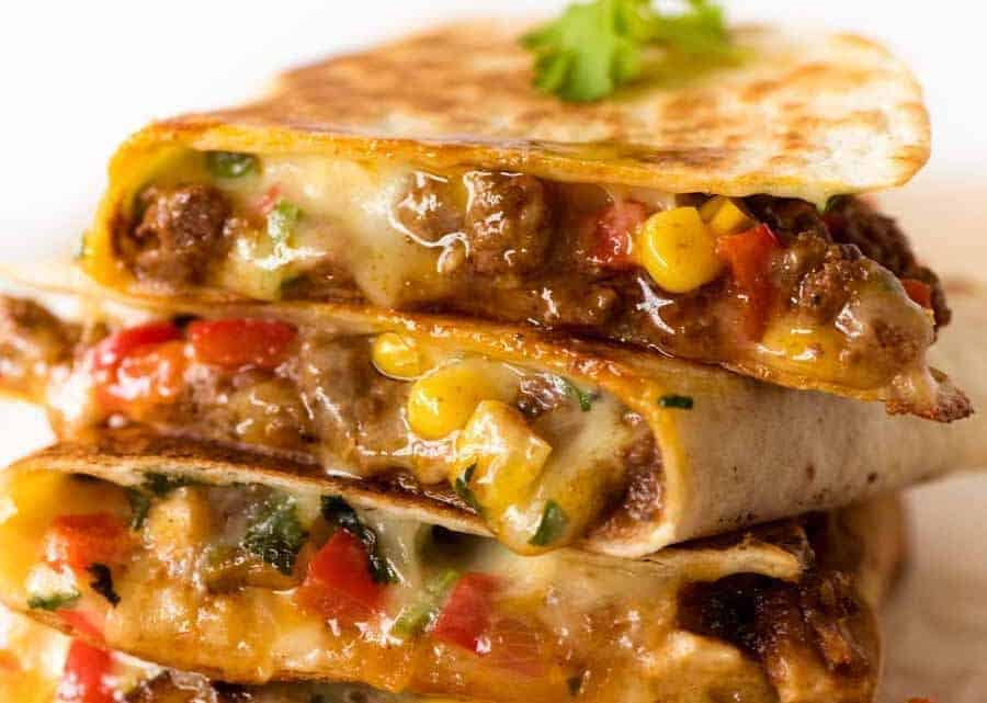 Close up of a stack of Beef Quesadillas