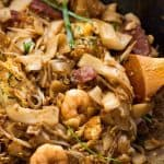 Char Kway Teow in a wok, fresh off the stove
