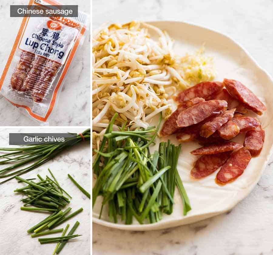 Chinese Sausage and Garlic Chives for Char Kway Teow
