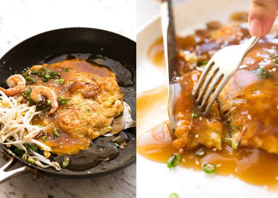 Egg Foo Young in a black skillet and close up of fork and knife cutting a piece of Egg Foo Young