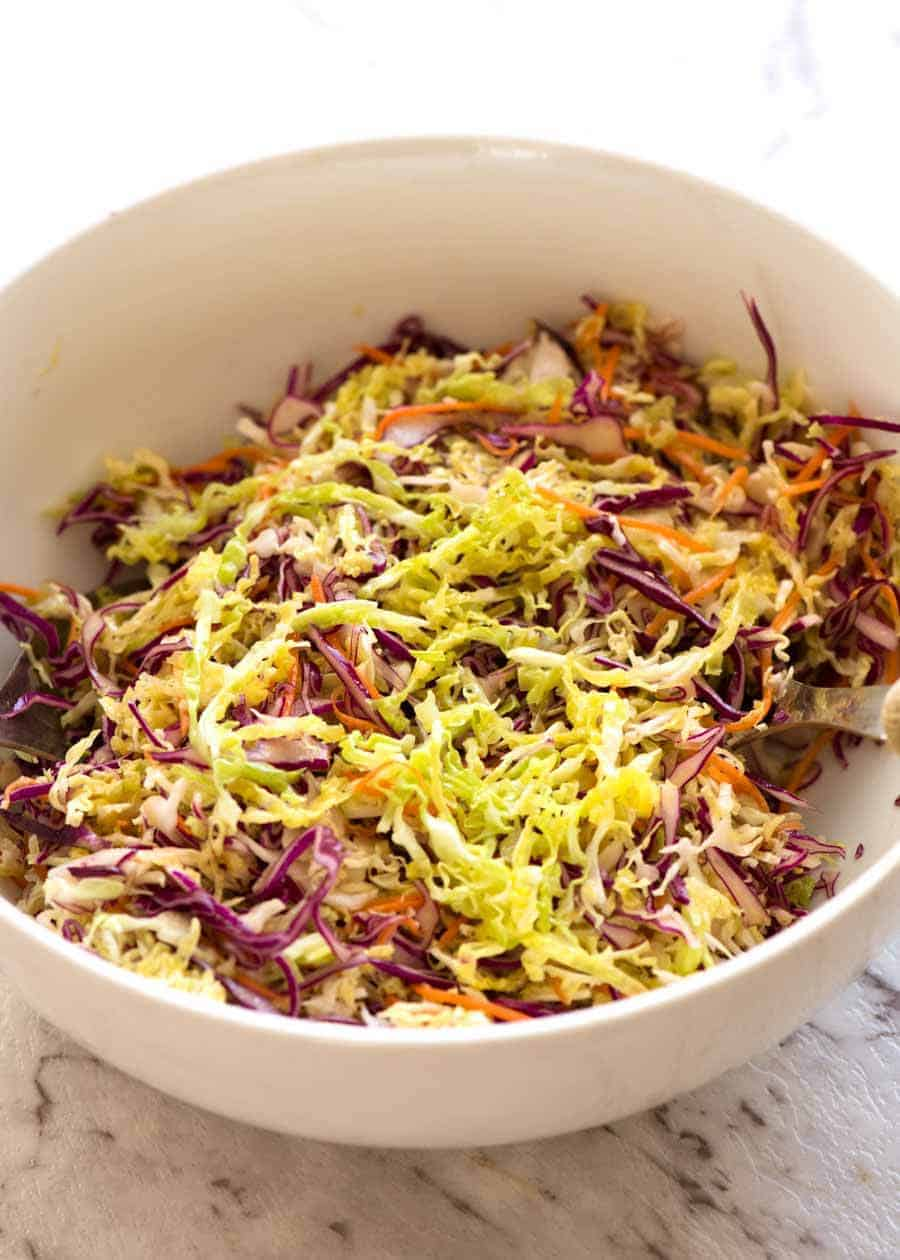 Everyday Cabbage Salad in a white bowl, ready to be served.