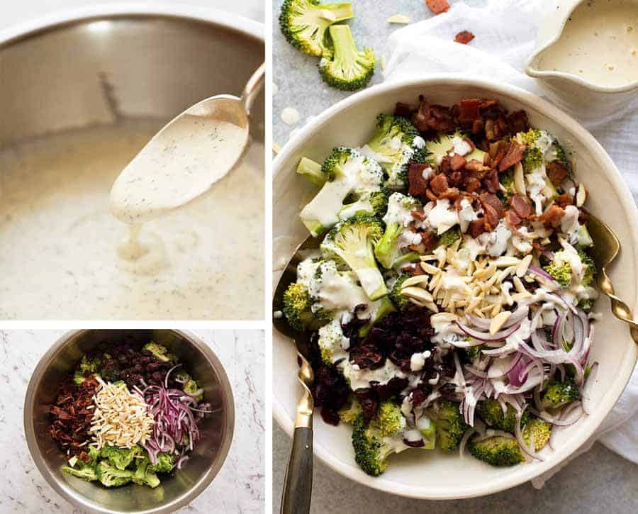 Preparation steps for Broccoli Salad with Lighter Creamy Dressing