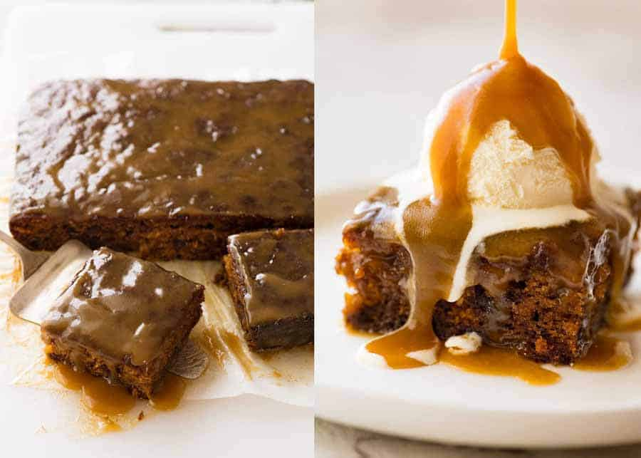 Sticky Date Pudding with butterscotch sauce being poured over