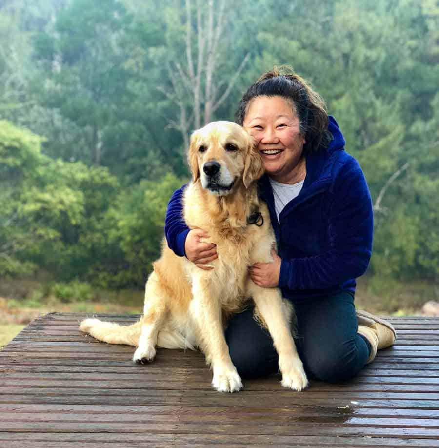Dozer the golden retriever dog and Nagi from RecipeTin Eats at Araluen