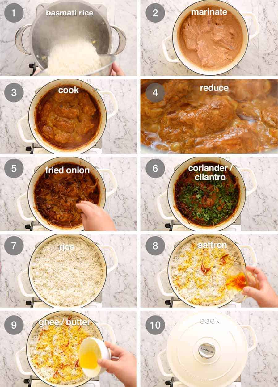 Preparation steps for Biryani