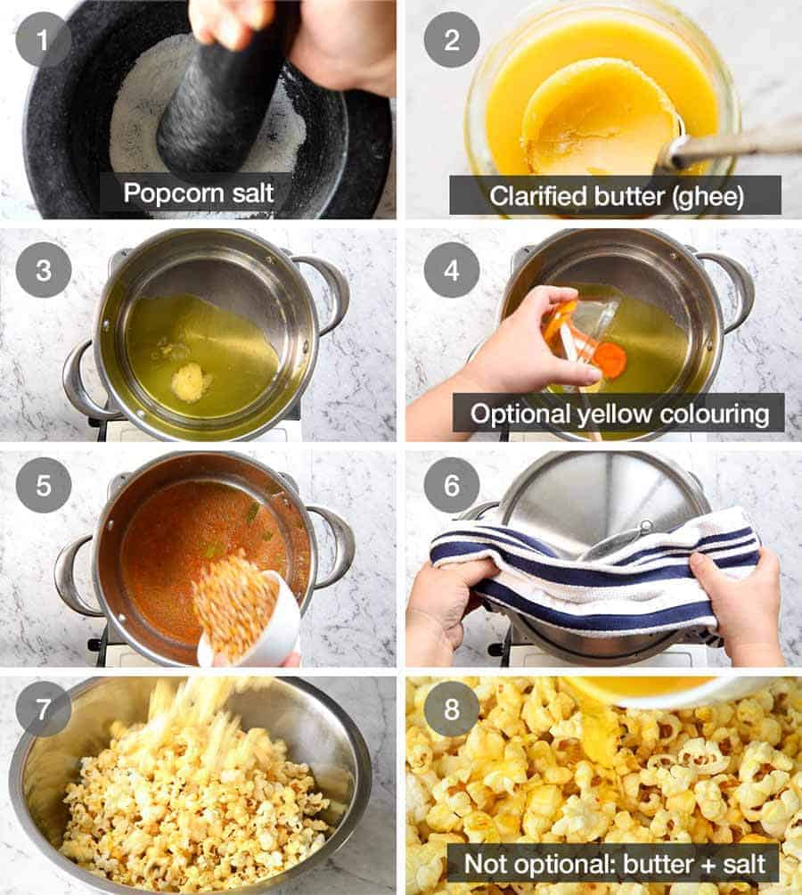 Preparation steps for how to make yellow, buttery Homemade Movie Popcorn