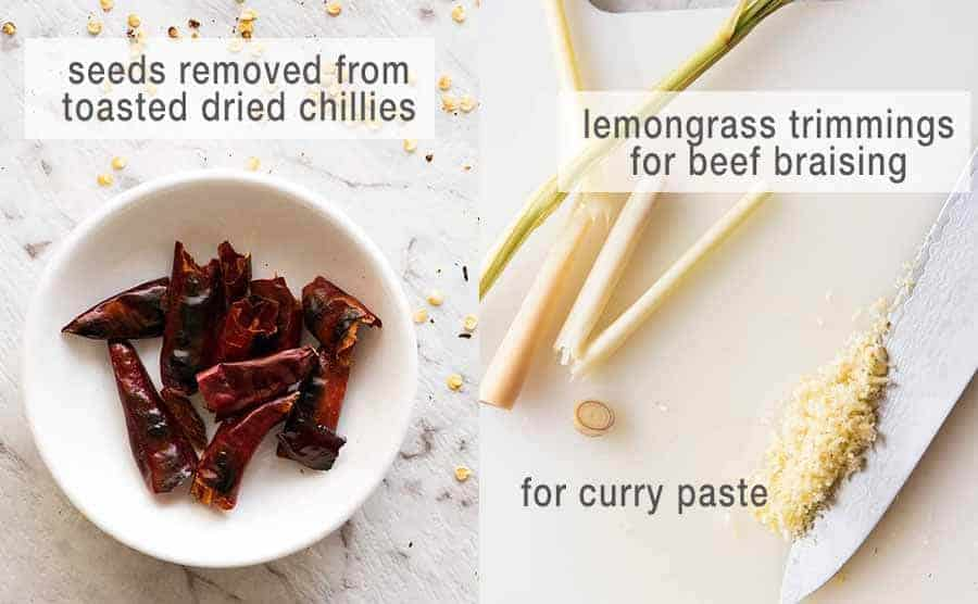 Lemongrass and dried chillies for Massaman curry