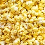 Close up of yellow, buttery, Homemade Movie Popcorn