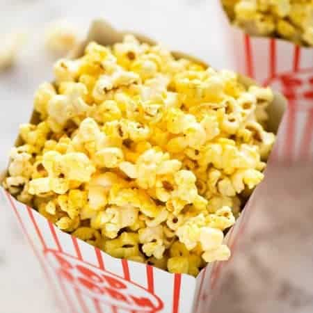 Yellow Homemade Movie Popcorn in a popcorn bucket