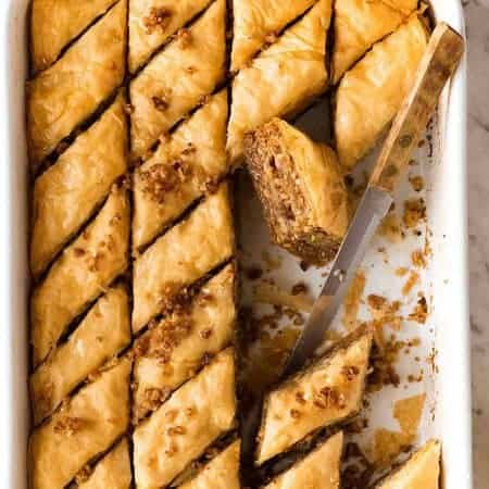 Overhead photo of Baklava in a white pan