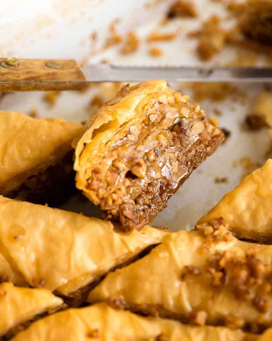 Close up of a piece of Baklava