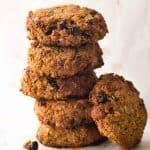 Stack of Healthy Oatmeal Cookies (Breakfast Cookies!)
