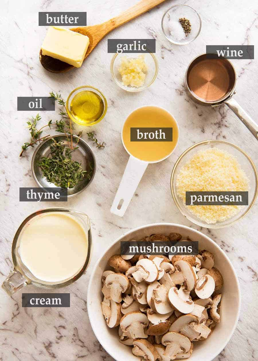 Ingredients to make a great Creamy Mushroom Sauce