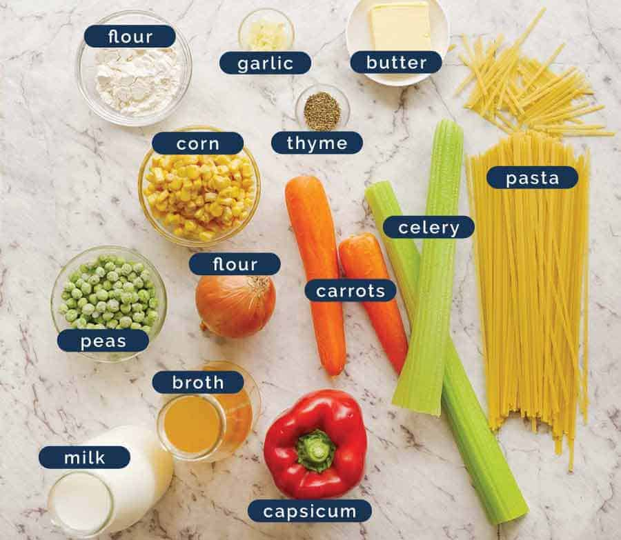 Ingredients in Cream of Vegetable Soup with Noodles (no cream!)