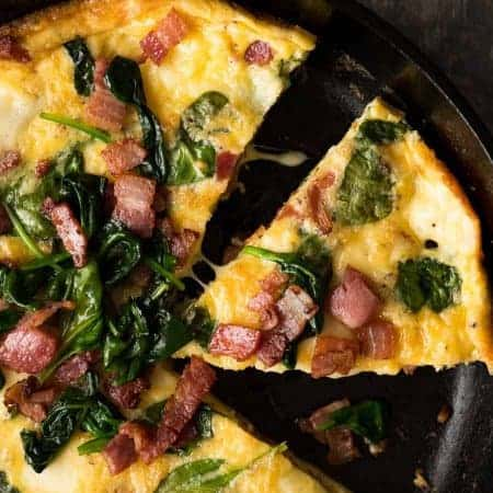 Overhead photo of Frittata with Bacon and Spinach in a black skillet, fresh out of the oven