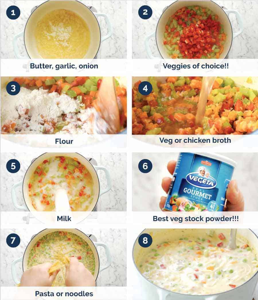 Preparation steps for Cream of Vegetable Soup with Noodles (no cream!)