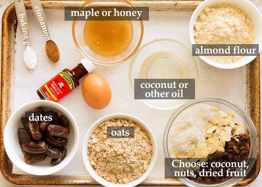 Ingredients for Healthy Oatmeal Breakfast Cookie