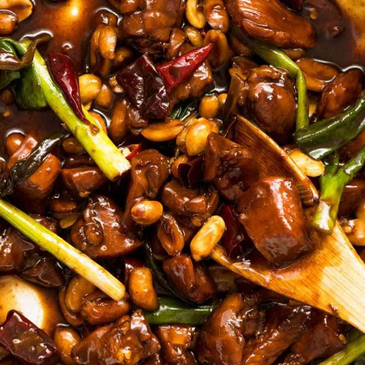 Close up of Kung Pao Chicken with Kung Pao Sauce, fresh off the stove