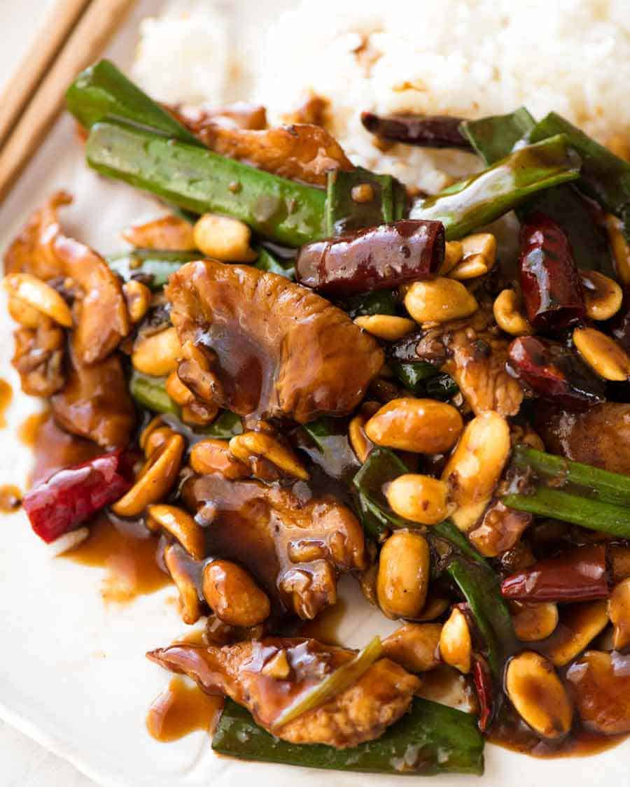 Kung Pao Chicken served over rice, ready to be eaten