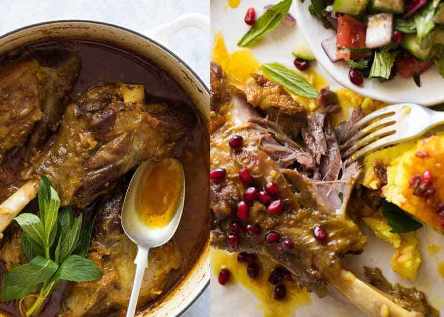 Braised lamb shanks in a delicately spiced, well seasoned broth. A beautiful traditional Persian recipe.