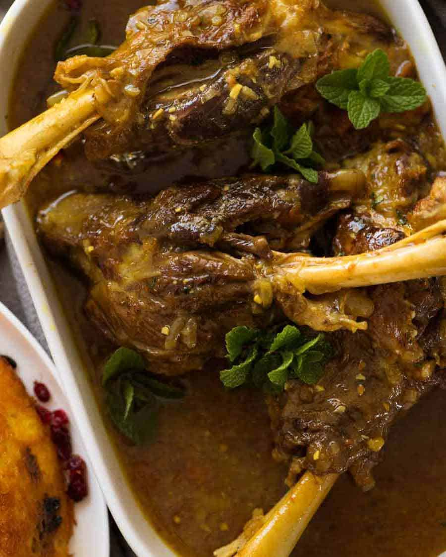 Slow cooked braised lamb shanks in a delicately spiced, well seasoned broth. A beautiful traditional Persian recipe.