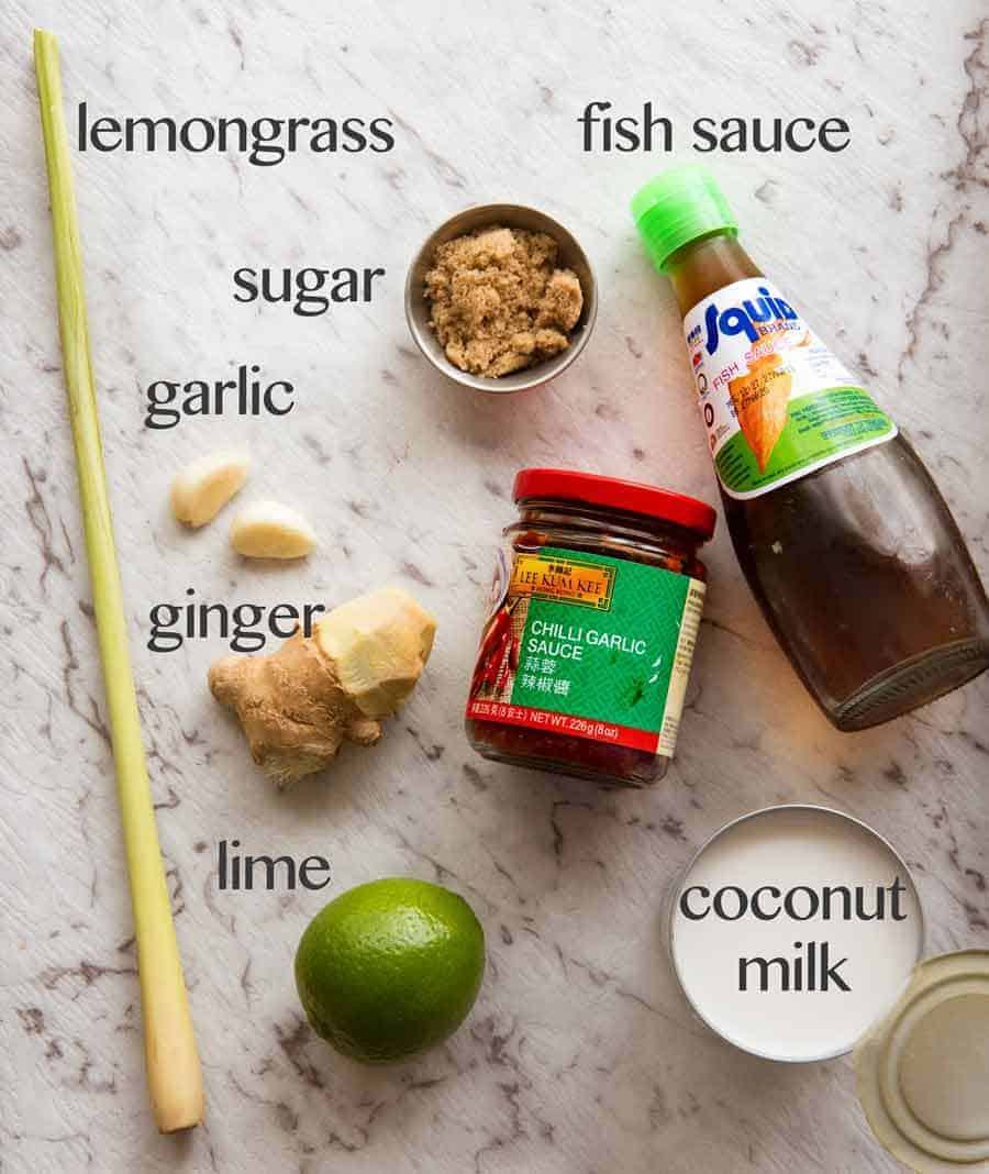 Ingredients to make Poached Salmon in Coconut Lime Sauce