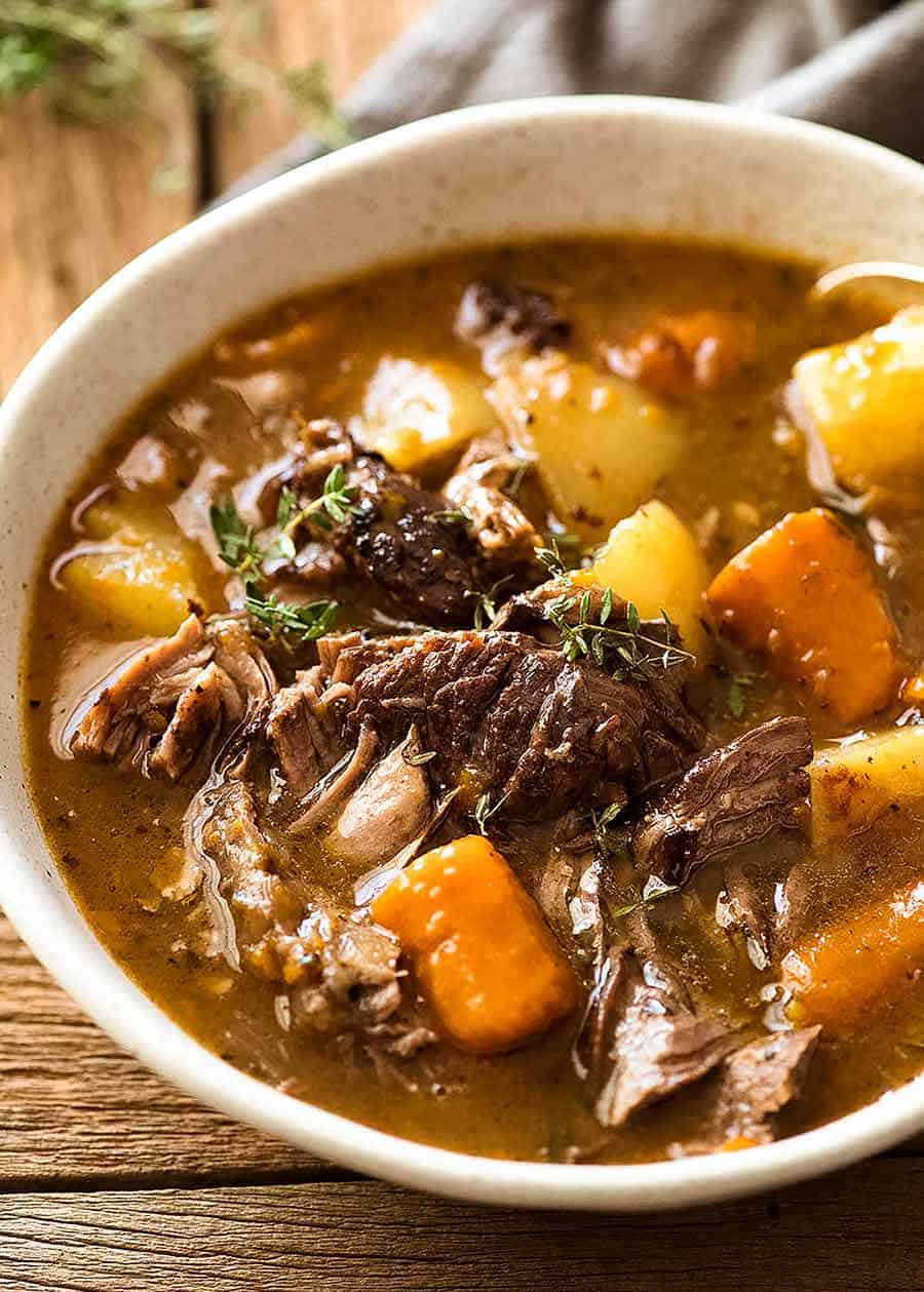 Close up of Beef Pot Roast in a bowl, ready to be eaten