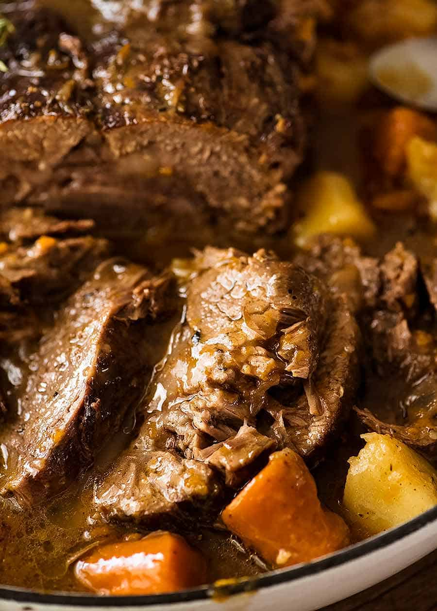 Close up of fall apart beef - Crockpot Pot Roast