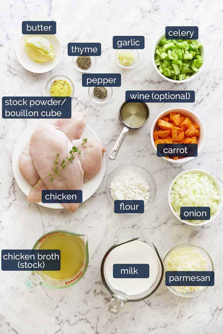 Chicken Pot Pie ingredients, made using uncooked chicken