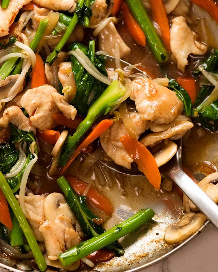 Close up of Chop Suey - Chicken Stir Fry - with plenty of Chinese brown gravy!