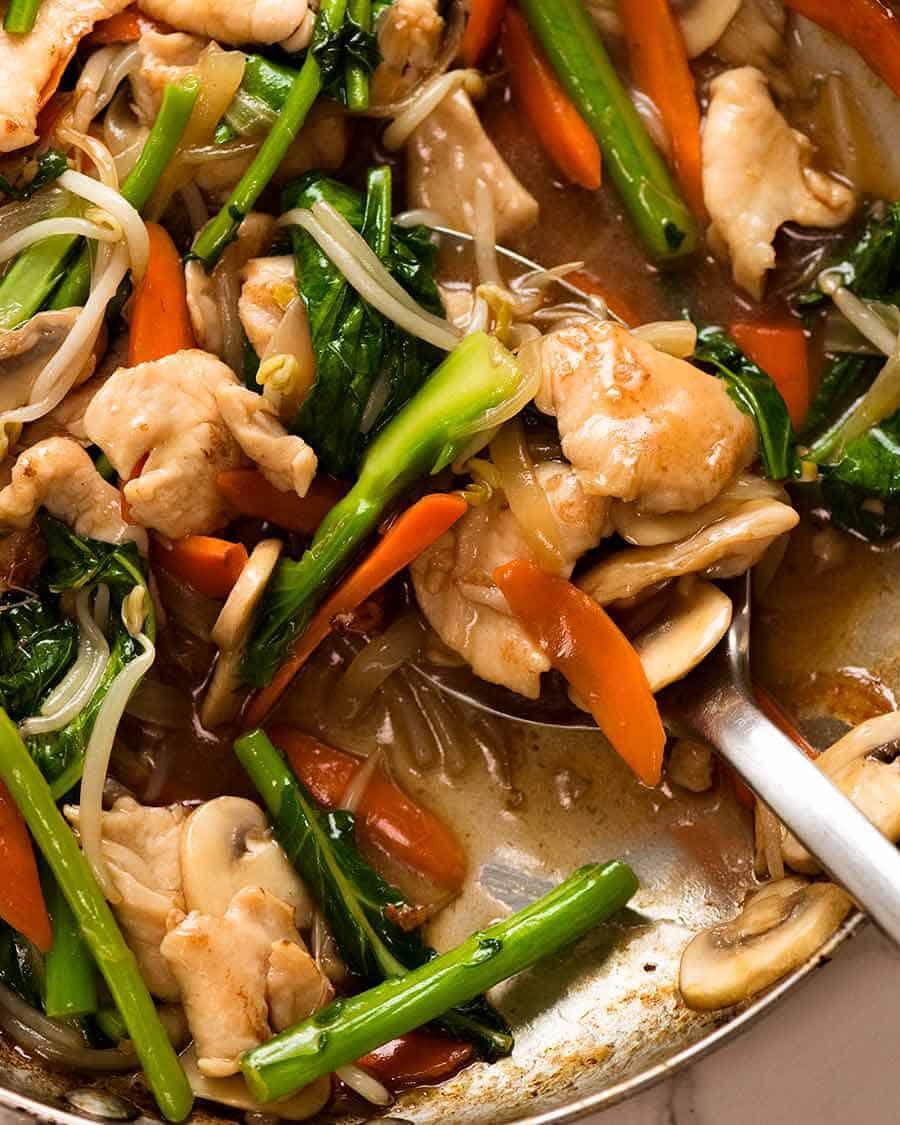 Close up of Chop Suey - Chicken Stir Fry - with plenty of Chinese brown gravy!