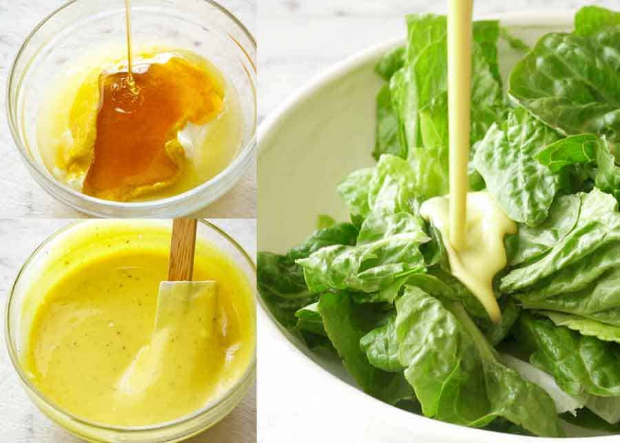 Oil Free Honey Mustard Dressing being poured over lettuce