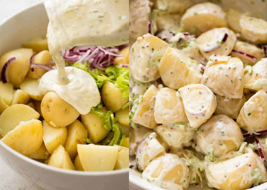 Close up of Healthy creamy no mayo Potato Salad being poured over potato