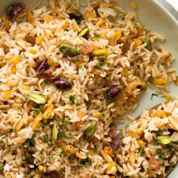 Close up of Rice Pilaf in a green bowl, ready to be served