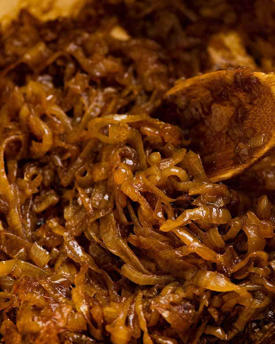 Close up of Caramelised Onions in a pot