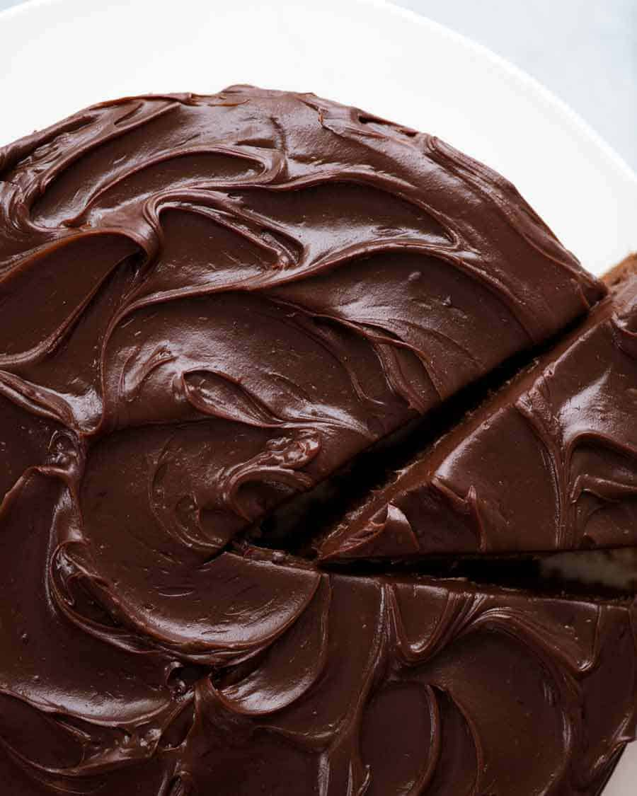 Overhead photo of Easy Chocolate Fudge Cake with Chocolate Ganache frosting