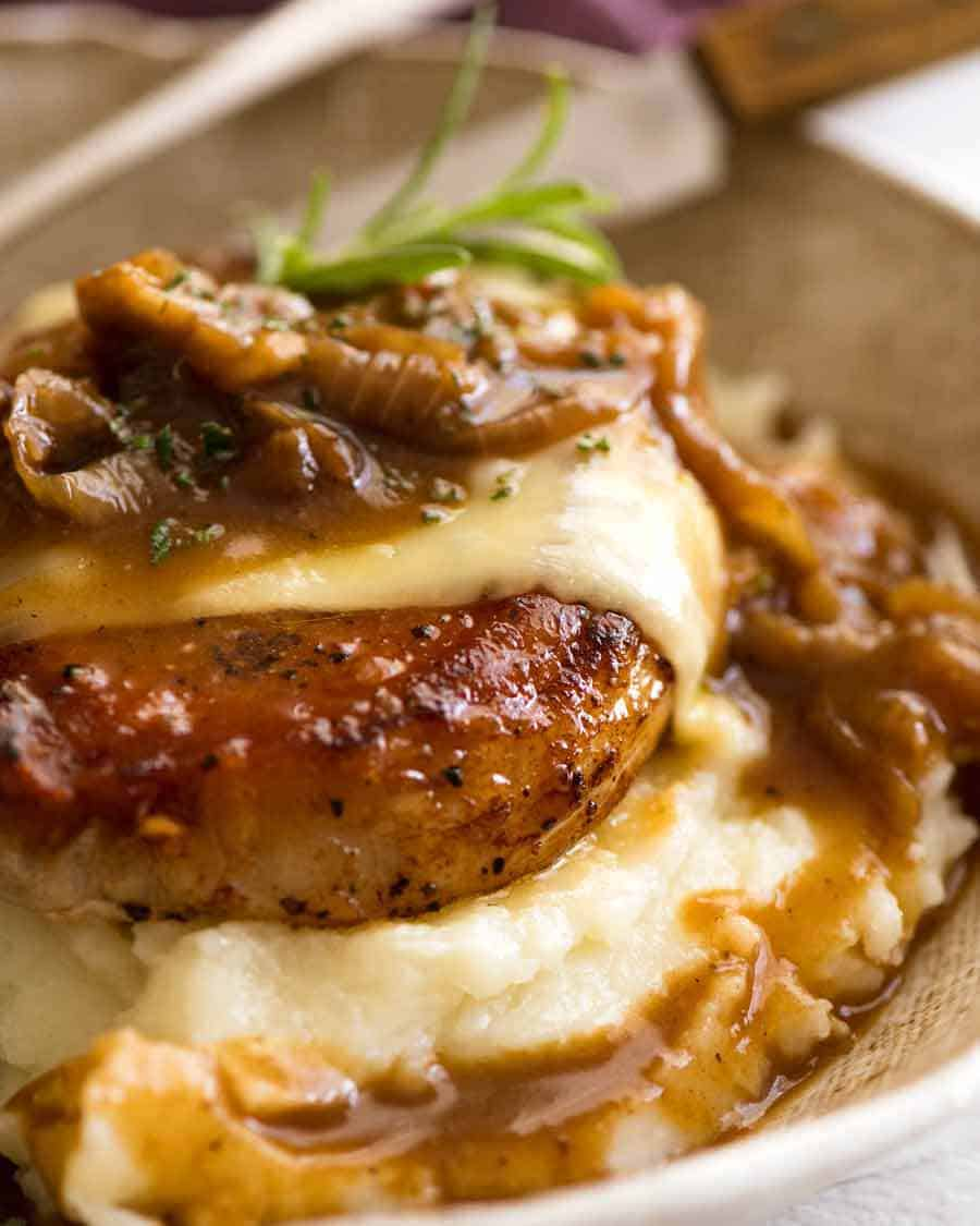 Close up of French Onion Smothered Pork Chops